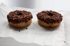 Two chocolate doughnuts Stock Photo