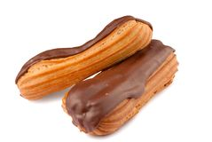 Two chocolate eclairs Stock Images