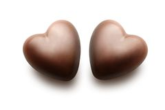 Two chocolate hearts. Stock Image