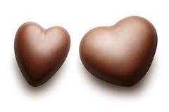 Two chocolate hearts. stock photo