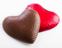 Two chocolate hearts Royalty Free Stock Photography