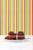 Two chocolate layer mousse cake on plate Royalty Free Stock Image