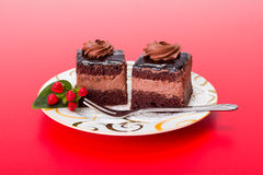 Two chocolate layer mousse cake on plate Stock Photography