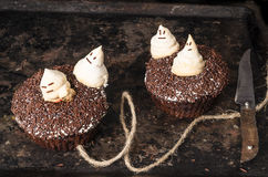 Two chocolate pumpkin cupcakes, decorated with meringue ghosts Stock Photography