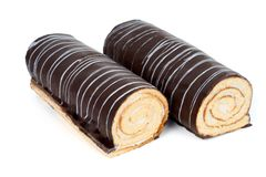 Two chocolate rolls Royalty Free Stock Photos