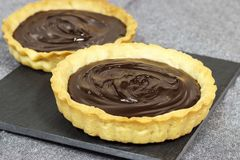 Free Two Chocolate Shortcrust Tarts With Ganache Filling On Slate Board. Royalty Free Stock Photos - 106384758