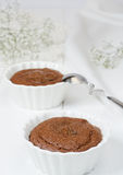 Chocolate Souffle. Two Chocolate Souffles with Chocolate sauce Royalty Free Stock Photography