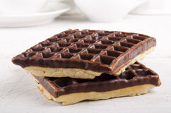 Two chocolate waffle Royalty Free Stock Photo
