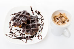 Two chocolate waffles Royalty Free Stock Images