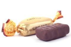 Two chocolates. Isolated on white background royalty free stock photo