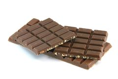 Two chocolates isolated Stock Images