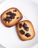 Two Chokolate Chip Cookies Royalty Free Stock Images