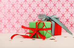 Two chrismas presents Royalty Free Stock Photography