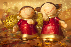 Two Christmas angels Stock Image