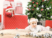 Two Christmas baby Royalty Free Stock Photo