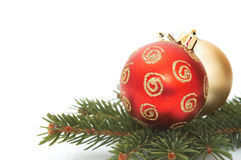 Two christmas balls  Royalty Free Stock Photos