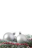 Two christmas balls branch fir Stock Photography