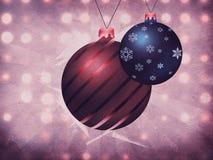 Two Christmas balls on grunge background Stock Image