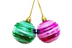 Two christmas balls isolated on white. Two christmas balls  isolated on white Royalty Free Stock Image