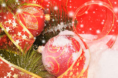 Two Christmas Balls On A Snowy Scene Royalty Free Stock Photos