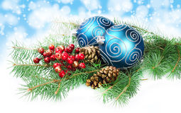 Two christmas balls with pine and decorations Stock Photo