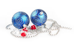 Two christmas balls with pine and decorations Royalty Free Stock Photo
