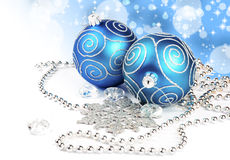Two christmas balls with pine and decorations Royalty Free Stock Photography