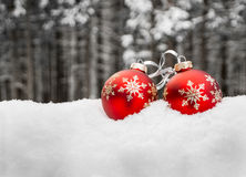 Two christmas balls in snow Stock Image