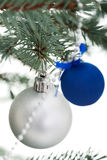 Two christmas balls on a twig. Royalty Free Stock Photography