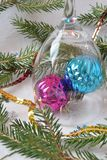 Two christmas balls on a white background royalty free stock images