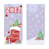 Two Christmas banners in retro style. Christmas boot with gifts, sweets and decorated s tree. Decorative inscription of the coming Stock Photo
