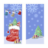 Two Christmas banners in retro style. Gifts, snowflakes and garlands of boots, hats and colored lights. Stock Image