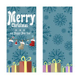 Two Christmas banners in retro style. Gifts, snowflakes and garlands of boots, hats and colored lights. Stock Photo