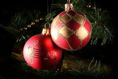 Two christmas baubles. A close up of two christmas baubles Royalty Free Stock Photos