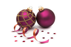 Two christmas baubles isolated royalty free stock photography