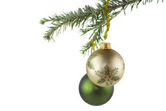 Two Christmas Baubles On Fir Tree Stock Image