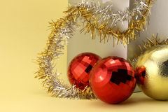 Two Christmas baubles red Royalty Free Stock Photo
