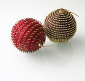 Two christmas baubles Royalty Free Stock Photos