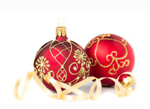 Two Christmas Baubles on white Royalty Free Stock Photo