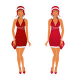 Two Christmas beautiful girls isolated Stock Image