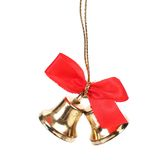 Two christmas bells with red ribbon. Royalty Free Stock Photography