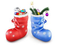 Two Christmas boot with gifts. 3d. Royalty Free Stock Photography