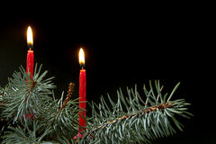 Two Christmas candle Royalty Free Stock Photography