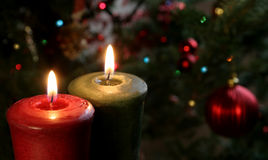 Two Christmas Candles. Christmas candles set against a tree Stock Images