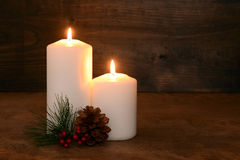 Two christmas candles Stock Image