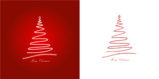 Two christmas cards/red,white. Two illustrated christmas cards, red and white colored Stock Illustration