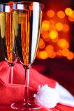 Two christmas champagne glasses Royalty Free Stock Photos