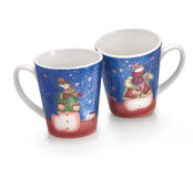 Two Christmas cups. Two cups for Christmas time. Christmas decor. Clipping path Royalty Free Stock Photo