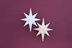 Two christmas decoration silver and gold stars Stock Photos