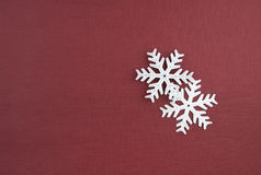 Two Christmas decoration silver snowflakes Royalty Free Stock Image